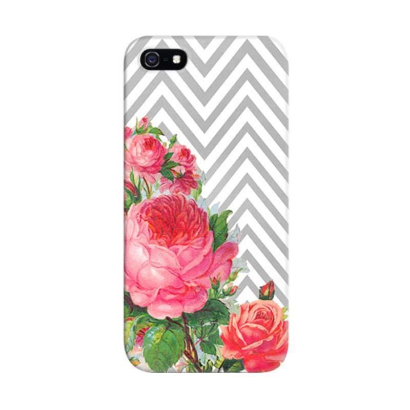 Indocustomcase Floral Chevron Custom Hardcase Casing for Apple iPhone 5/5S/SE