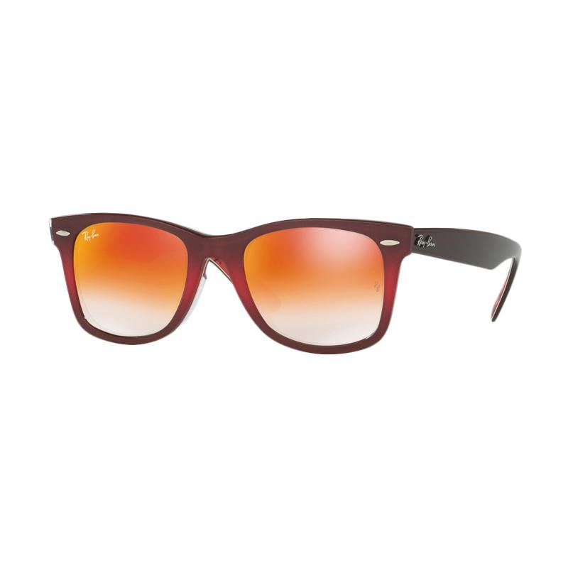 Ray-Ban Rb2140F 12004w Wayfarer Top Grad Pink On Brown Sunglasses - Mirror Gradient Red [Size 52]