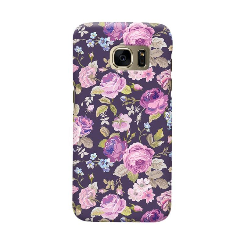 Indocustomcase Floral Rose Pink Cover Casing for Samsung Galaxy S7 Edge