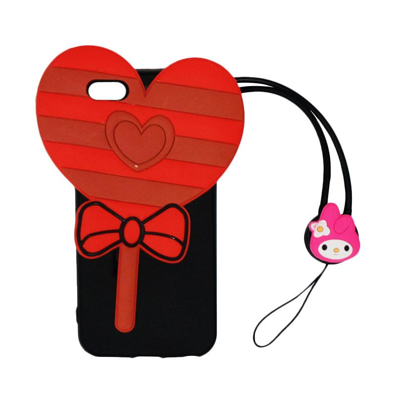 VR 3D Candy Love Edition Silicon Softcase Casing with Tali Gantungan for iPhone 5/5G/5S/SE - Black