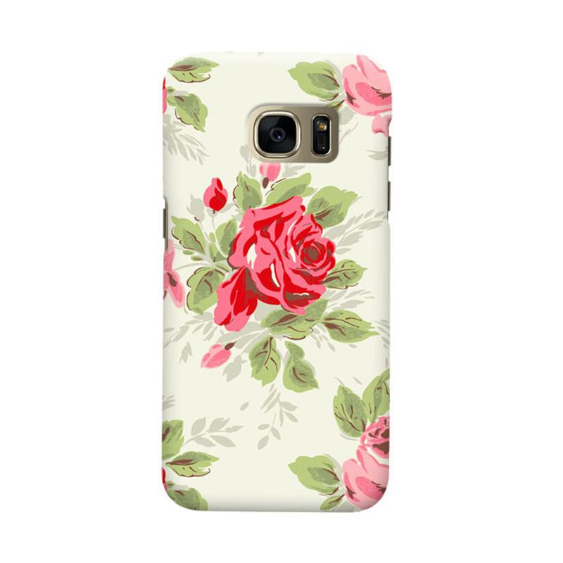 Indocustomcase Floral Rose Grey Cover Casing for Samsung Galaxy S7 Edge