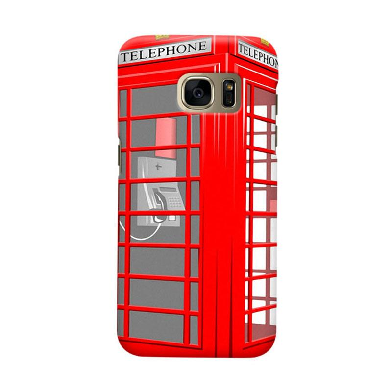 Indocustomcase Red Telephone Box  Casing for Samsung Galaxy S6 Edge