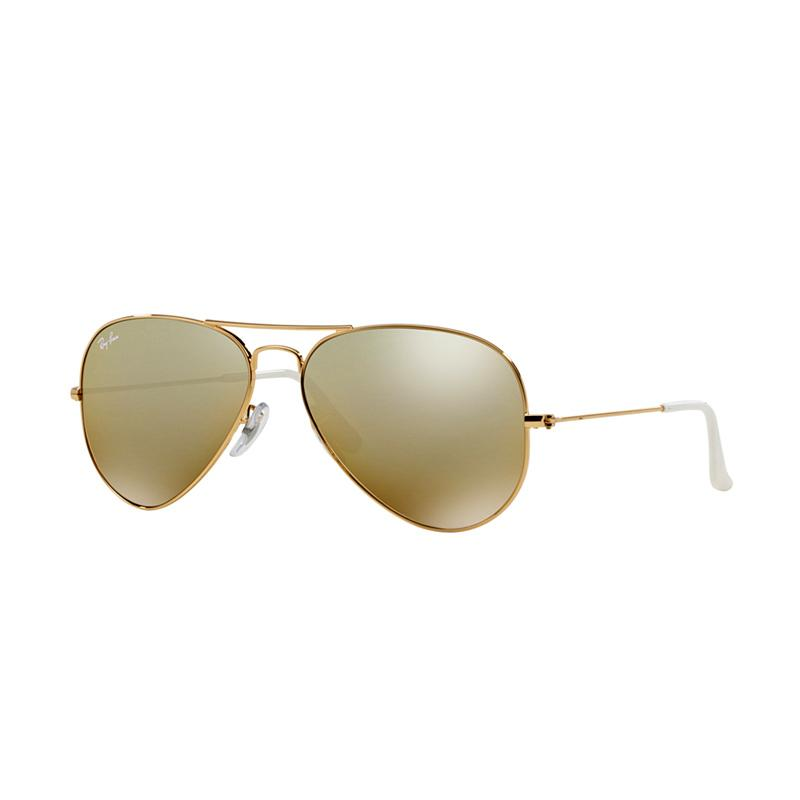 Ray-Ban 001-3K Large Metal RB3025 Cry. Brown Mirror Silver Grad. Aviator Sunglasses - Gold [Size 62]