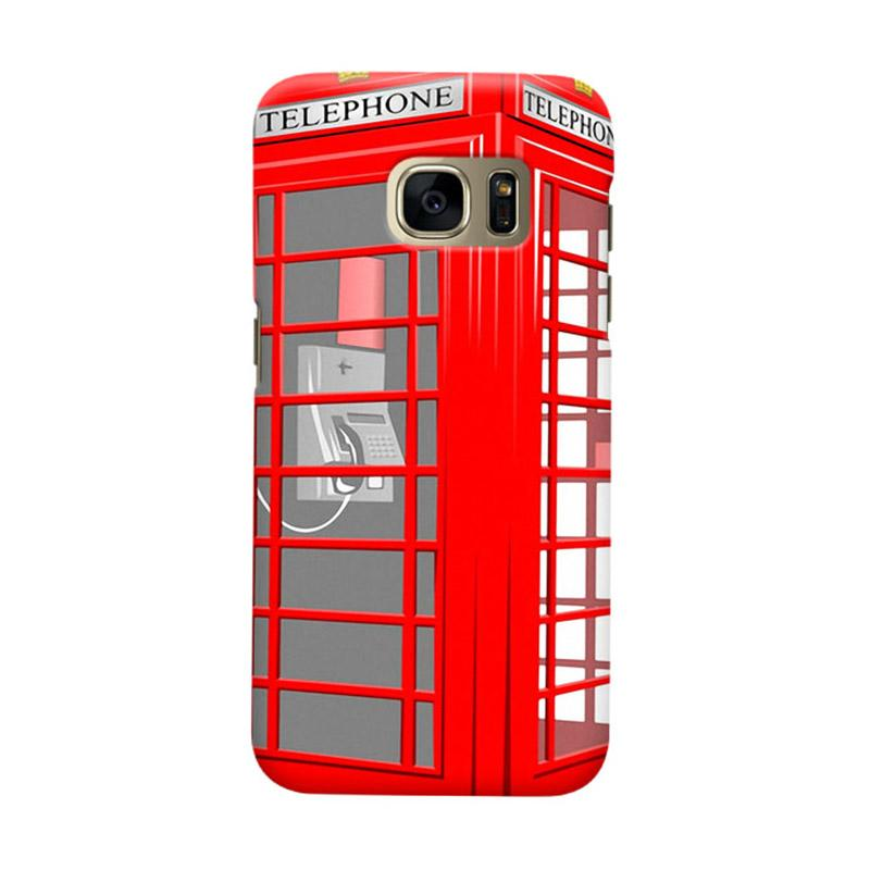 Indocustomcase Red Telephone Box Cover Hardcase Casing for Samsung Galaxy S7 Edge
