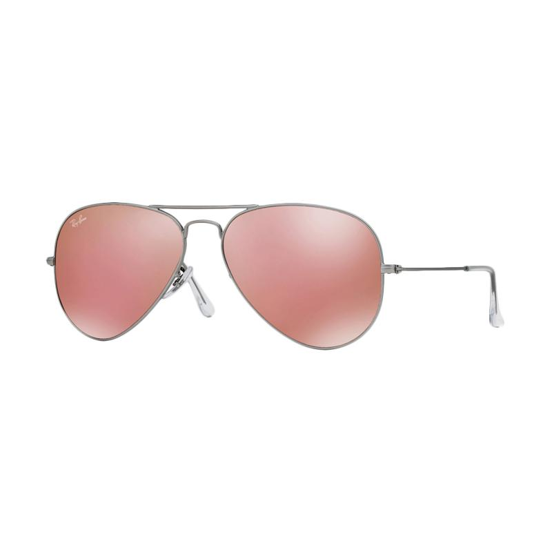Ray-Ban Aviator Large Metal RB3025 Sunglasses - Matte Silver [019-Z2/Size 58/Brown Mirror Pink]