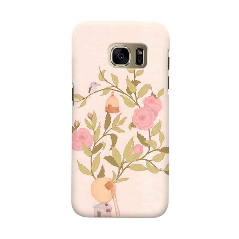 Indocustomcase Floral Rosebirds Cover Casing for Samsung Galaxy S7 Edge