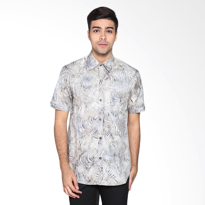 Batik Pria Tampan PKMPD-04081682C-Silver Men Zebra Slimfit Shirt Batik Pria - Silver
