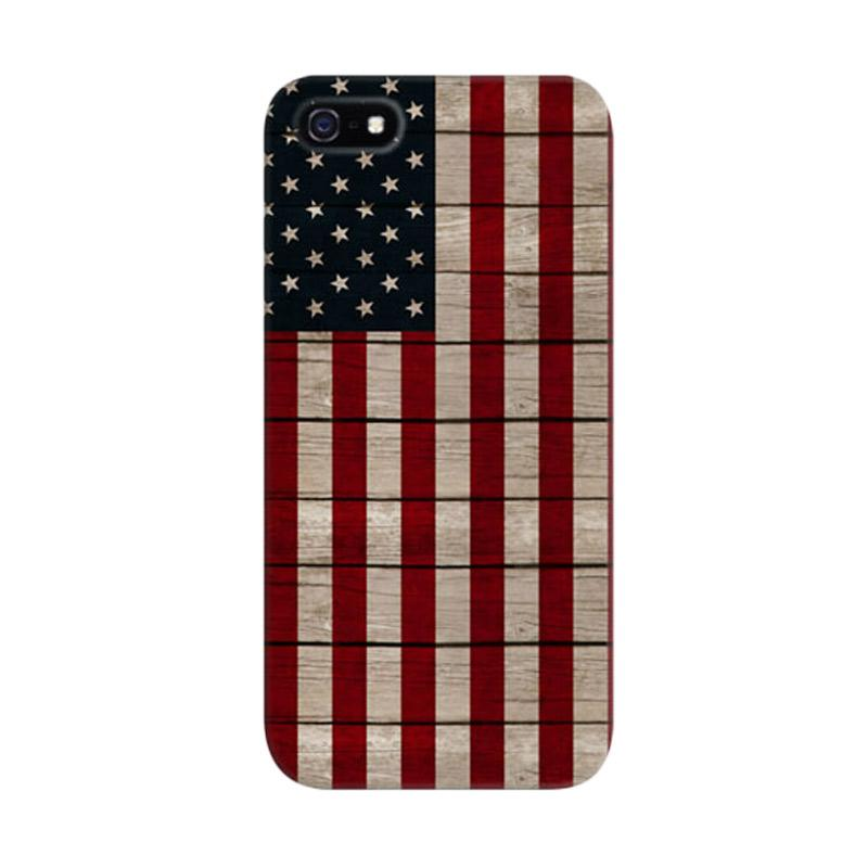 Indocustomcase America Flag Custom Cover Hardcase Casing for Apple iPhone 5/5S/SE