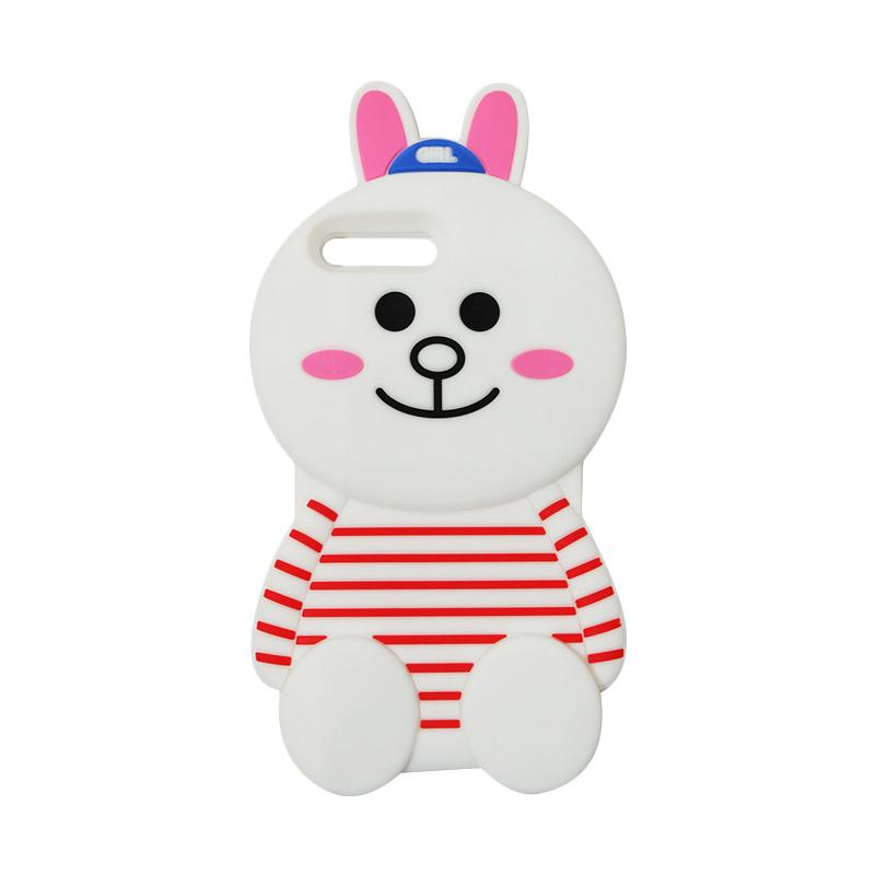 VR 3D Karakter Cony Line Edition Silicon Softcase Casing for Apple iPhone 7 Plus 5.5 Inch - White