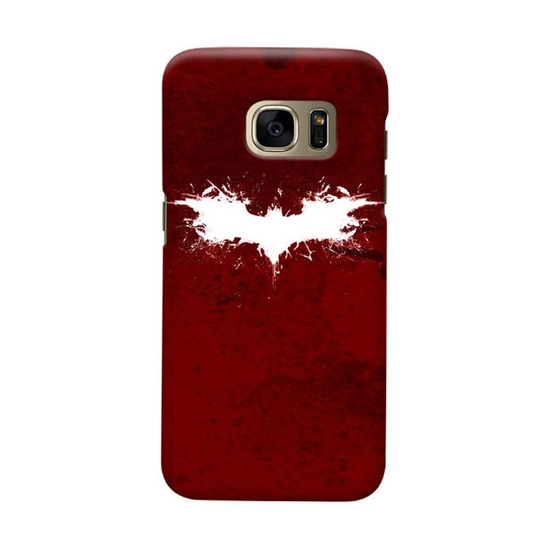 Indocustomcase Batman Grunge Logo Red Cover Casing for Samsung Galaxy S6