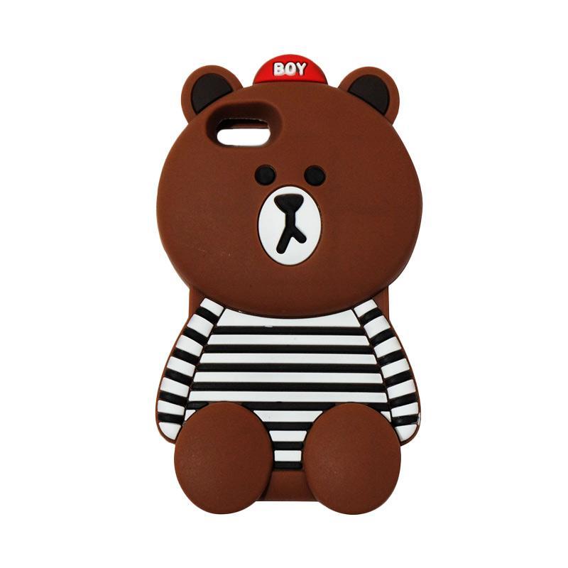 VR Silicon 3D Karakter Bear Brown Line Edition Softcase Casing for Apple iPhone 5G/ 5S/ 5SE - Brown