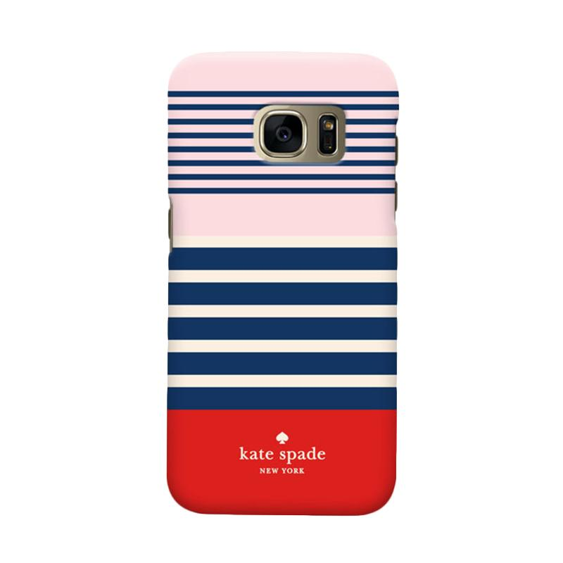 Indocustomcase Kate Spade Blue Stripe Cover Casing for Samsung Galaxy S7 Edge
