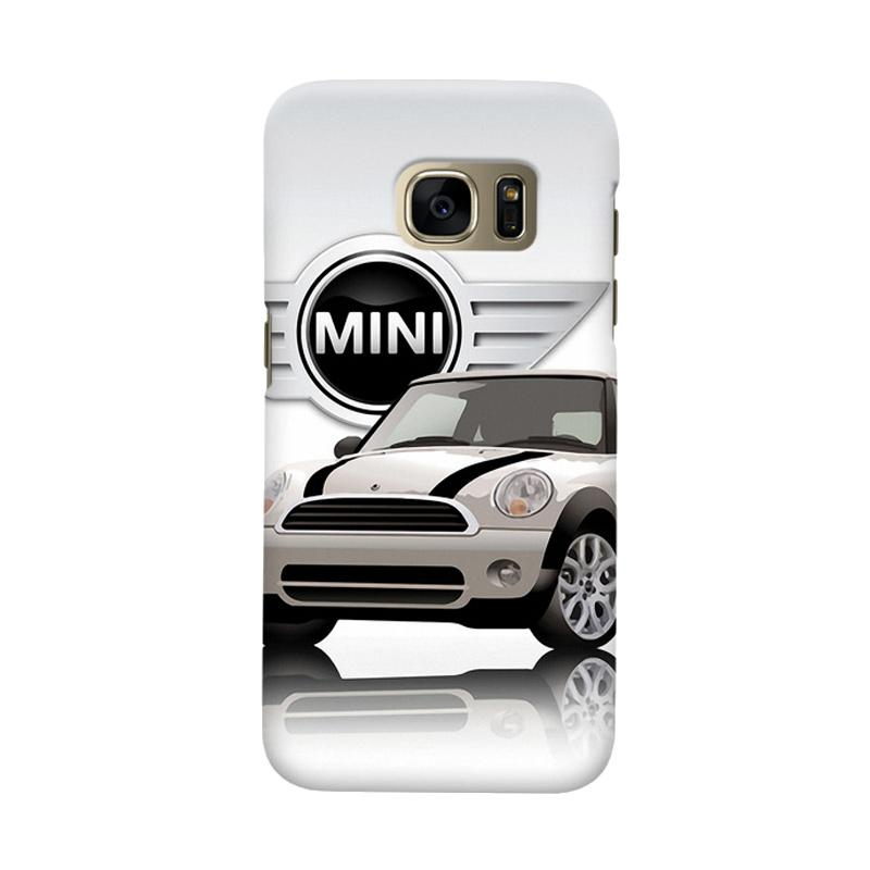 Indocustomcase White Mini Cooper Cover Casing for Samsung Galaxy S6 Edge