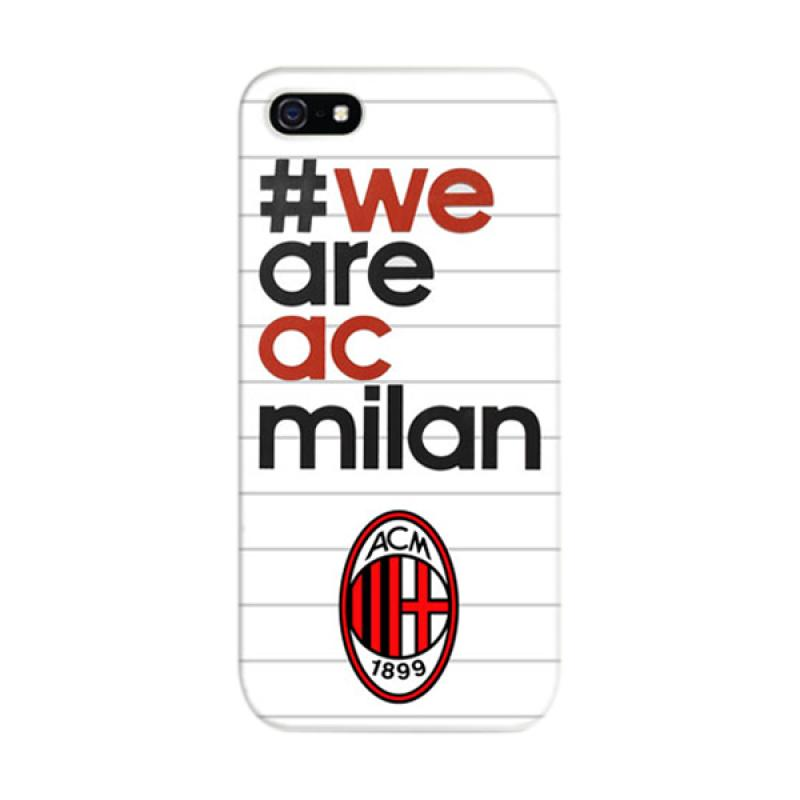 Indocustomcase #We Are AC Milan White Cover Hardcase Casing for Apple iPhone 5/5S/SE
