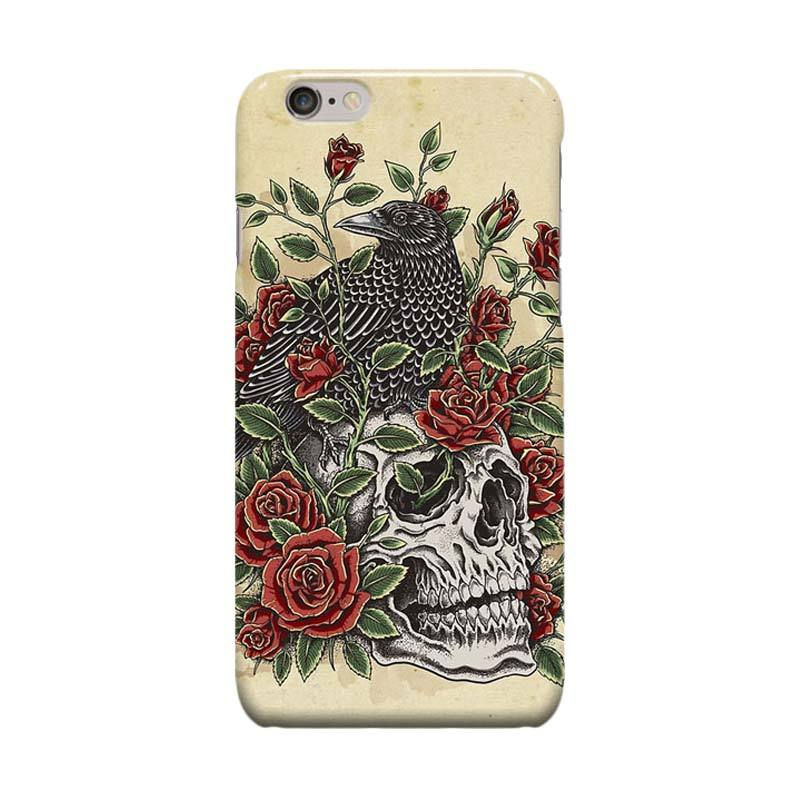 Indocustomcase Floral Skull Cover Casing for Apple Iphone 6 Plus or 6S Plus