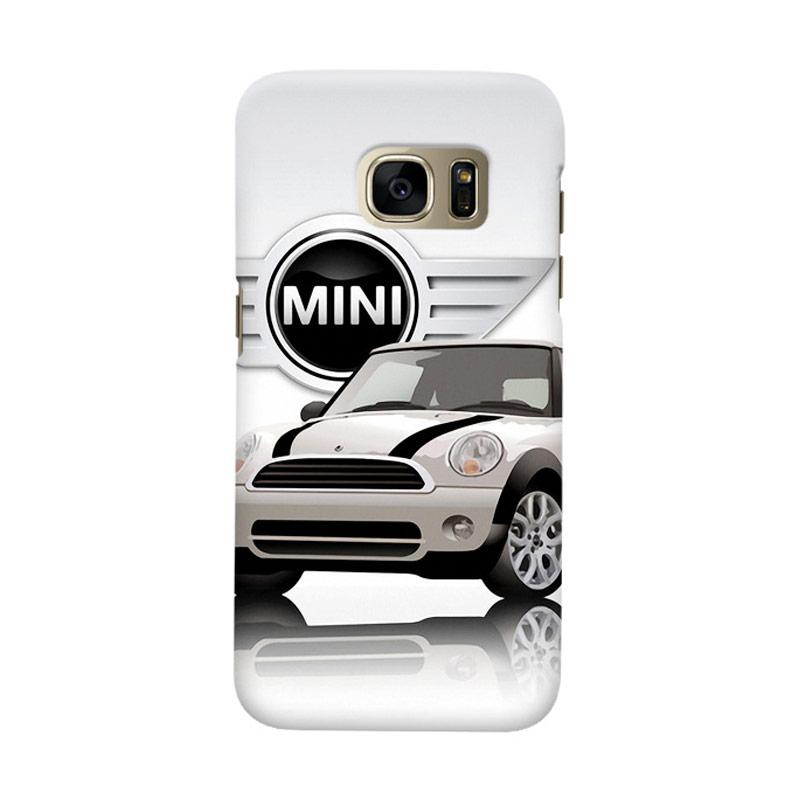 Indocustomcase White Mini Cooper Cover Casing for Samsung Galaxy S7 Edge