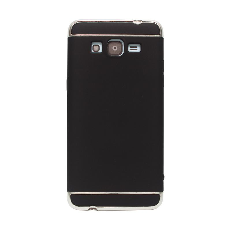 OEM Case 3 in 1 Plated PC Frame Bumper with Frosted Hardcase Casing for Samsung Grand Prime G530 - Black