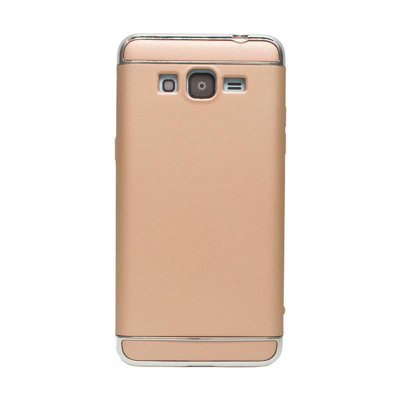 OEM Case 3 in 1 Plated PC Frame Bumper with Frosted Hardcase Casing for Samsung Grand Prime G530 - Gold