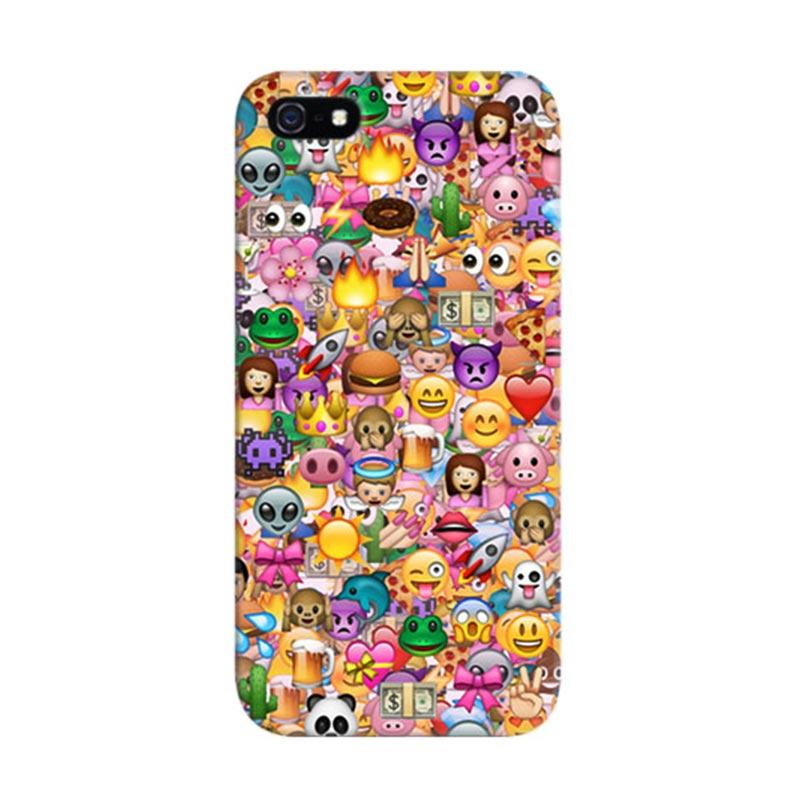 Indocustomcase Emoji Emoticons Custom Hardcase Casing for Apple iPhone 5/5S/SE