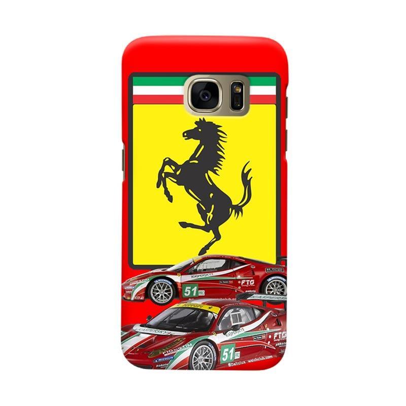 Indocustomcase Ferarri Sport Car Cover Casing for Samsung Galaxy S7 Edge