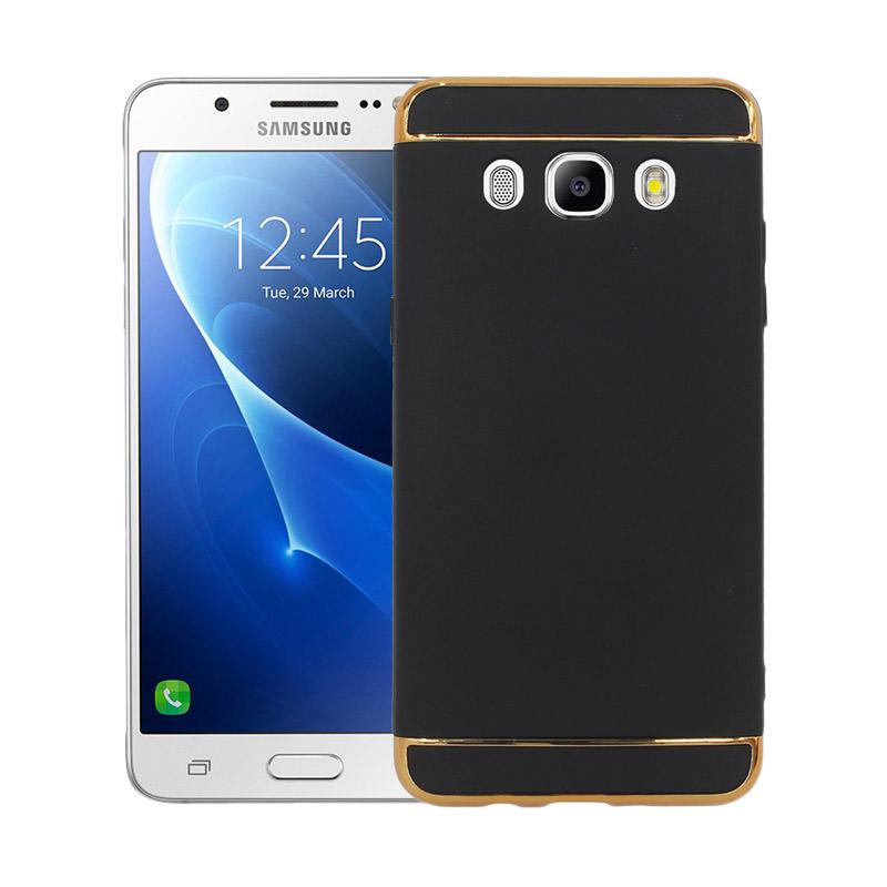 OEM 3in1 Plated PC Frame Bumper with Frosted Hard Backcase Casing for Samsung Galaxy J5 2016 or J510 - Black