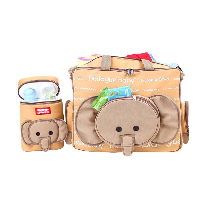 Dialogue Baby Tas Besar Bayi + Tempat Botol Susu Double + Tas Kecil Cute Series - Coklat