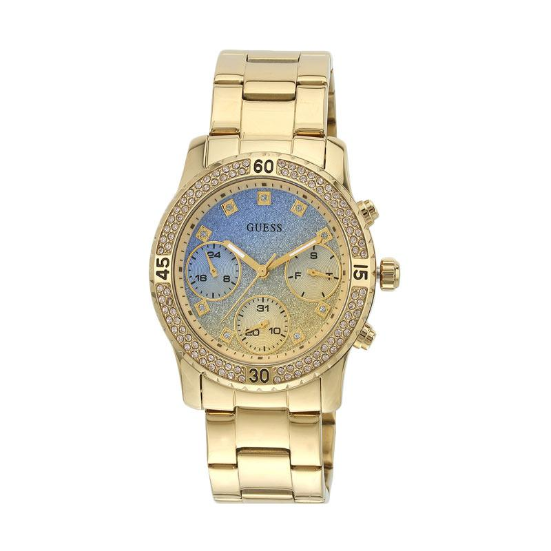 Guess Watch W0774L2 Competti Diamond Krystal Stainless Steel Jam Tangan Wanita - Blue Gold