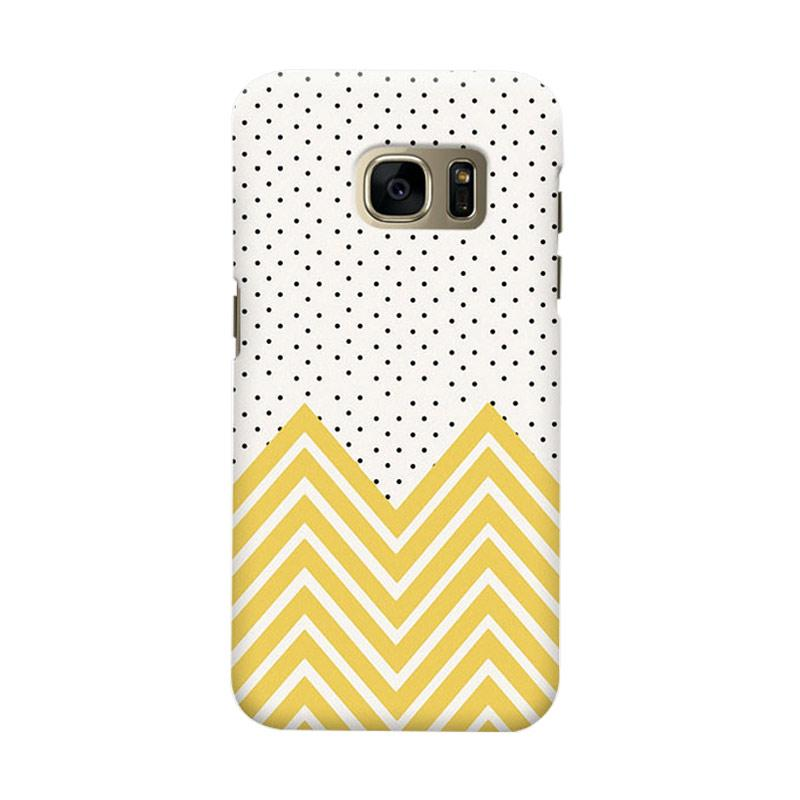 Indocustomcase Polka Gold Chevron Casing For Samsung Galaxy S7 Edge
