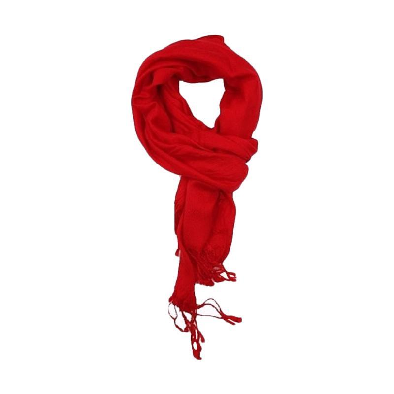 Anekaimportdotcom Syal Musim Dingin Scarf Winter Polos Pashmina - Merah