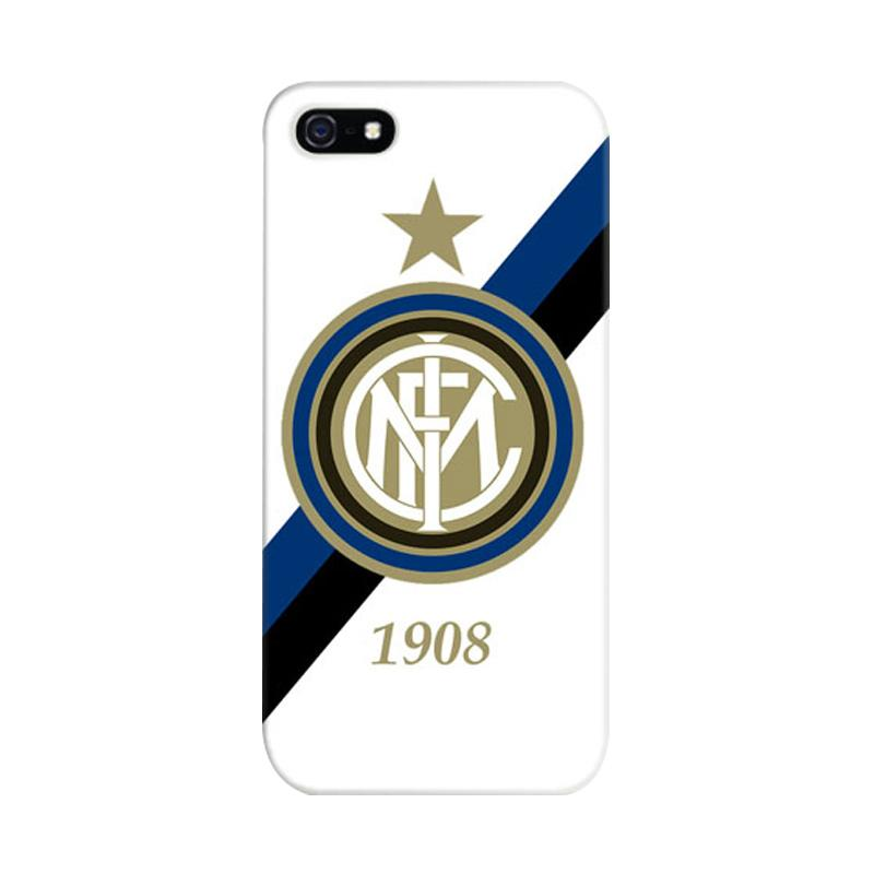 Indocustomcase Inter Milan FC White Logo Cover Hardcase Casing for iPhone 5/5S/SE