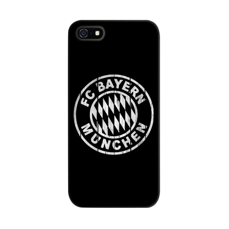 Indocustomcase Bayern Munchen Black Cover Hardcase Casing for Apple iPhone 5/5S/SE