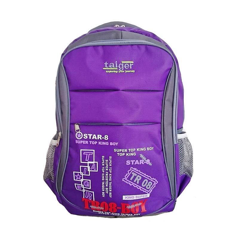 Bag & Stuff Taiger Star-8 Laptop Backpack Tas Ransel Pria Wanita + Pelindung Hujan - Ungu