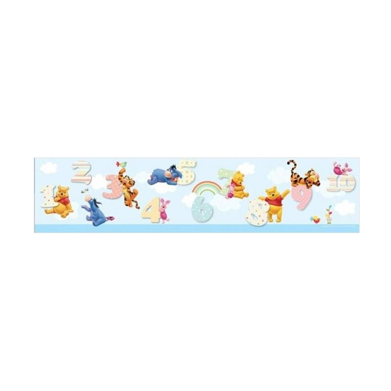 Hyundae Fixpix DT 23840 Pooh and Number Border Sticker Dekorasi Dinding - Blue [17 cm x 5 m]