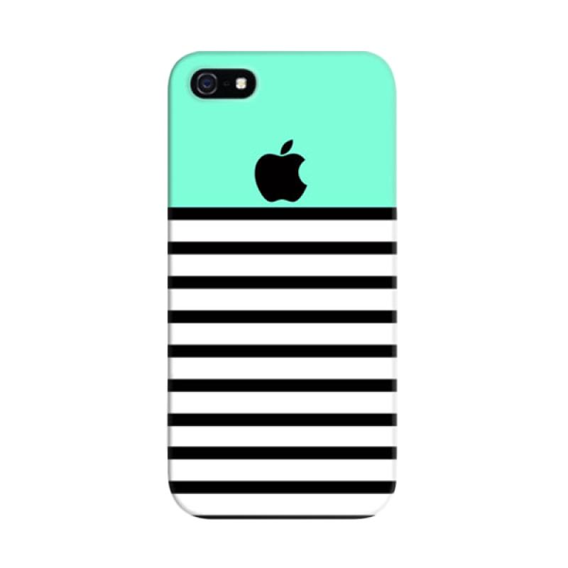 Indocustomcase Blue Black Striped Custom Hardcase Casing for Apple iPhone 5/5S/SE