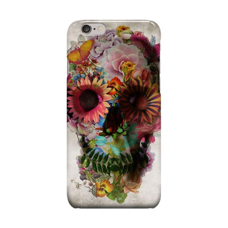 Indocustomcase Flower Skull Cover Casing for Apple Iphone 6 Plus or 6S Plus