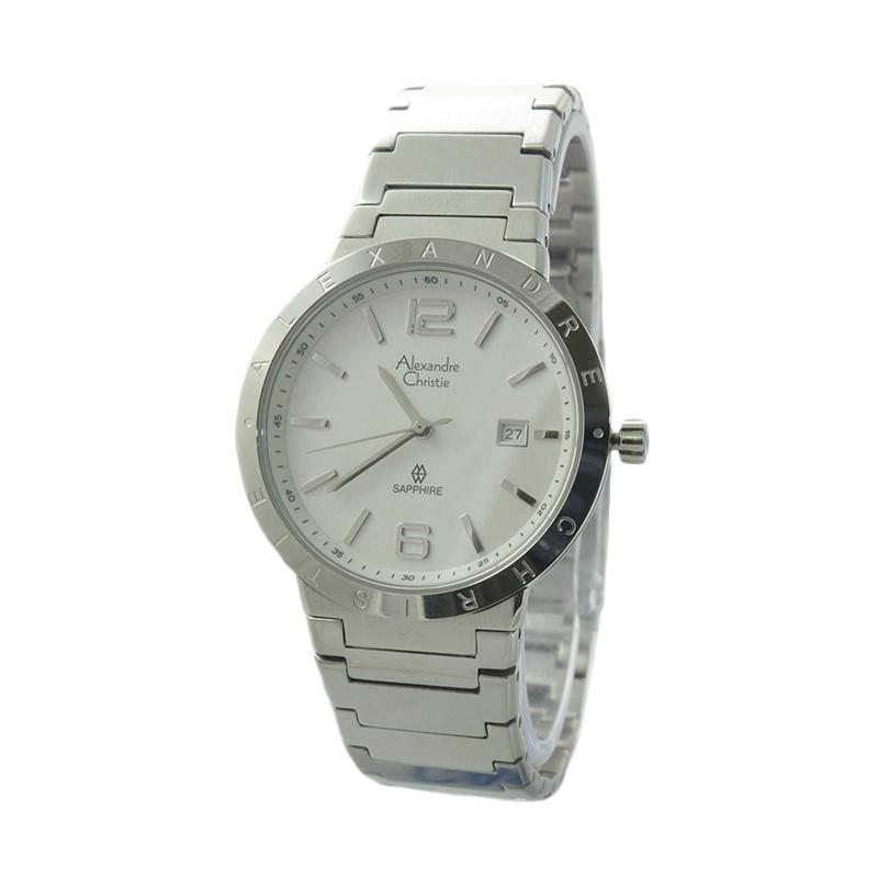 Alexandre Christie 8313 MDBSSSL Stainless Steel Jam Tangan Pria - Silver White