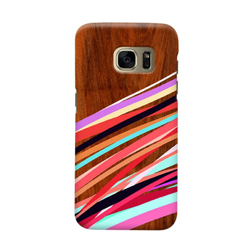Indocustomcase Wooden Geometric S Casing for Samsung Galaxy S7 Edge