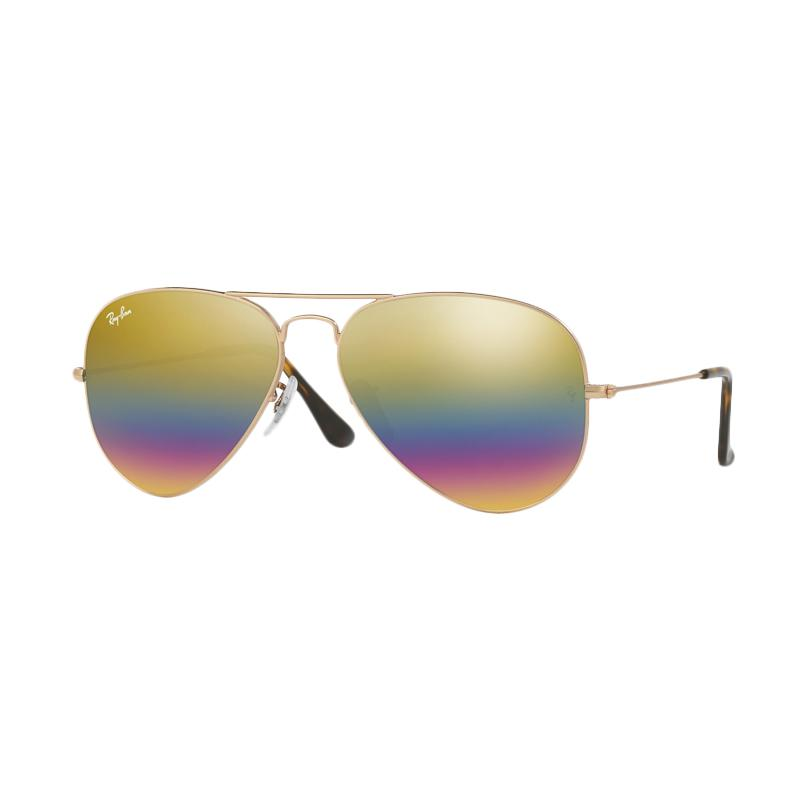 Ray-Ban Aviator Large Metal Rb3025 Metallic Light Bronze 9020C4 Sunglasses - Light Grey Mirror Rainbow 3 [Size 58]