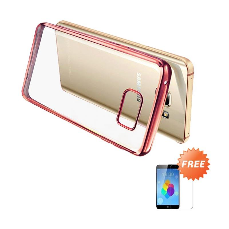 Ultrathin List Chrome Casing for Samsung Galaxy A3 2016 - Rose Gold + Free Temperred Glass