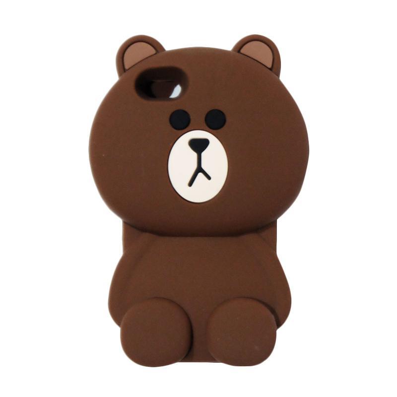 VR Silicon 3D Karakter Bear Brown Line Edition Softcase Casing for Apple iPhone 5/5G/5S/5SE/5C - Brown