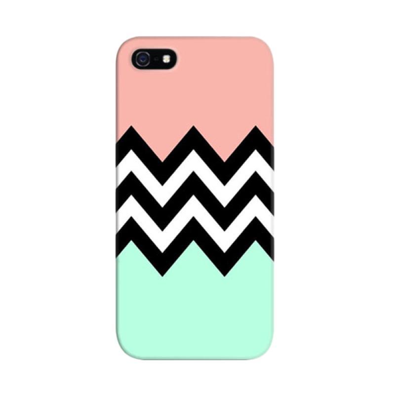 Indocustomcase Blue Pink Chevron Custom Hardcase Casing for Apple iPhone 5/5S/SE