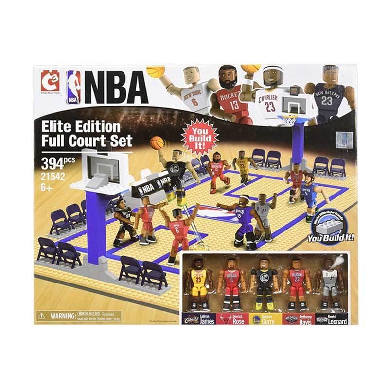 C3 NBA 21542 LeBron Curry Rose Davis Leonard Elite Edition Full Court Lego Set Mainan Blok & Puzzle
