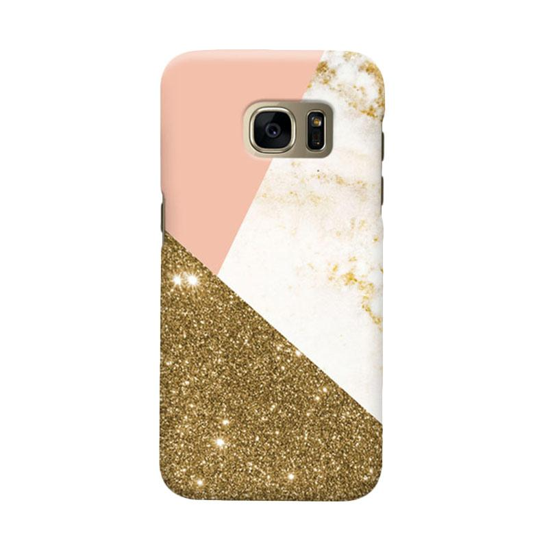 Indocustomcase Glitter Geometric Cover Casing for Samsung Galaxy S7 Edge - Gold