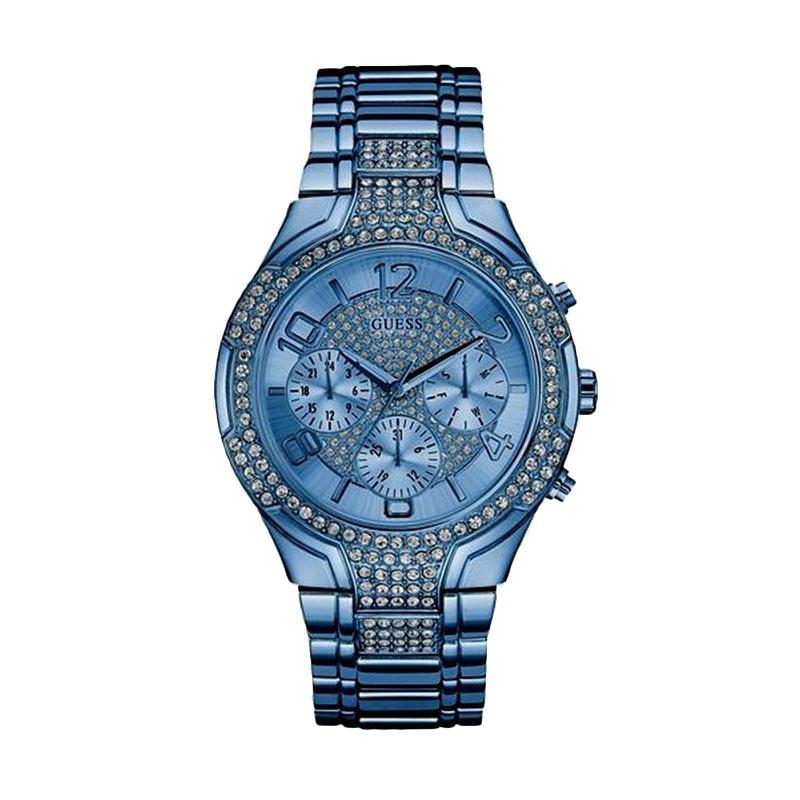 GUESS W0628L6 Stellar Guess Watch Diamond Kyrstal Stainless Steel Jam Tangan Wanita - Blue