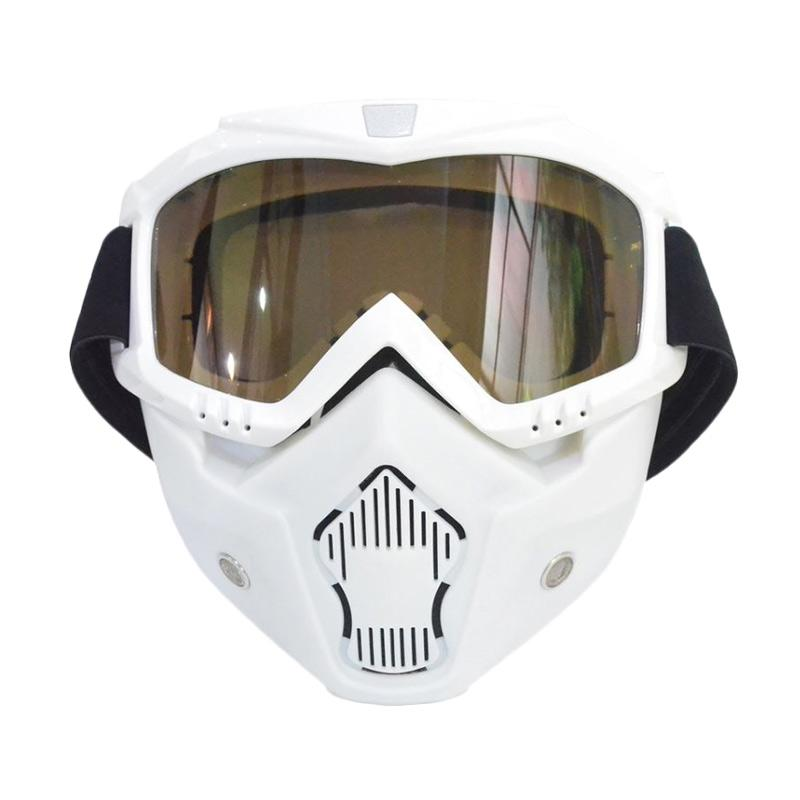 RajaMotor Kaca Mata (Goggle) Motocross Full Masker Kaca Ribben- Putih [KMT6070-Ribben-Putih]
