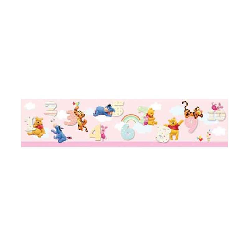 Hyundae Fixpix DT 23839 Pooh and Number Border Sticker Dekorasi Dinding - Pink [17cm x 5 m]