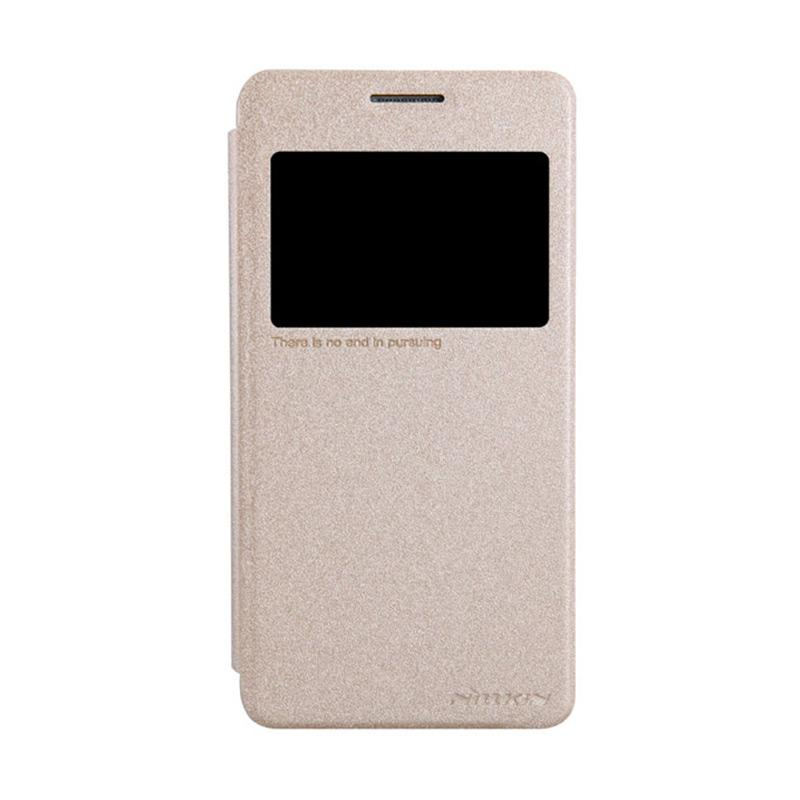 Nillkin Original Sparkle Leather Flip Cover Casing for Samsung Galaxy Grand Prime - Gold