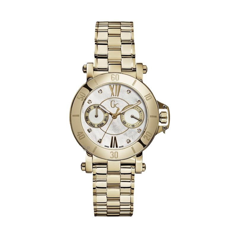 Guess Collection Gc Femme X74111L1S Stainless Jam Tangan Wanita - Gold White Diamond