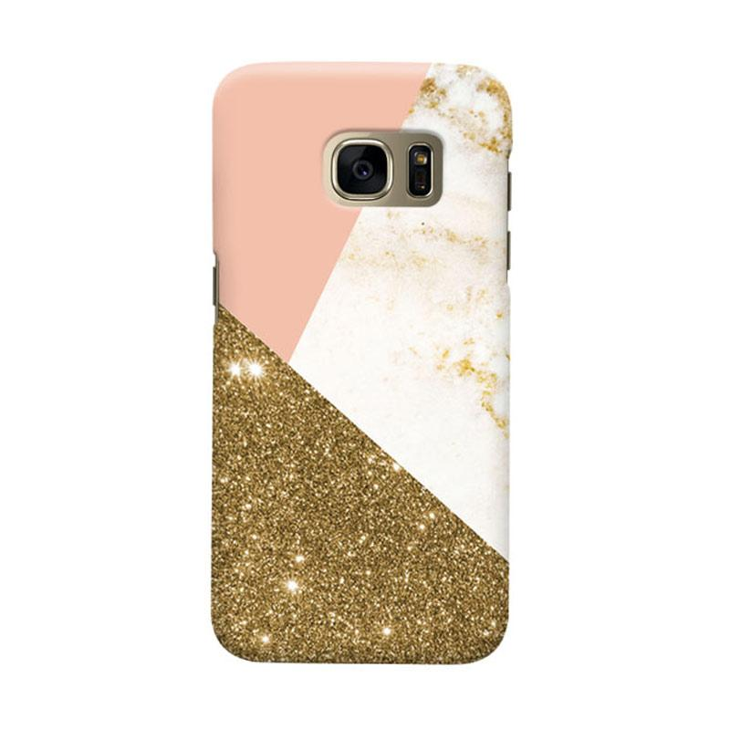 Indocustomcase Gold Glitter Geometric Cover Casing for Samsung Galaxy S6