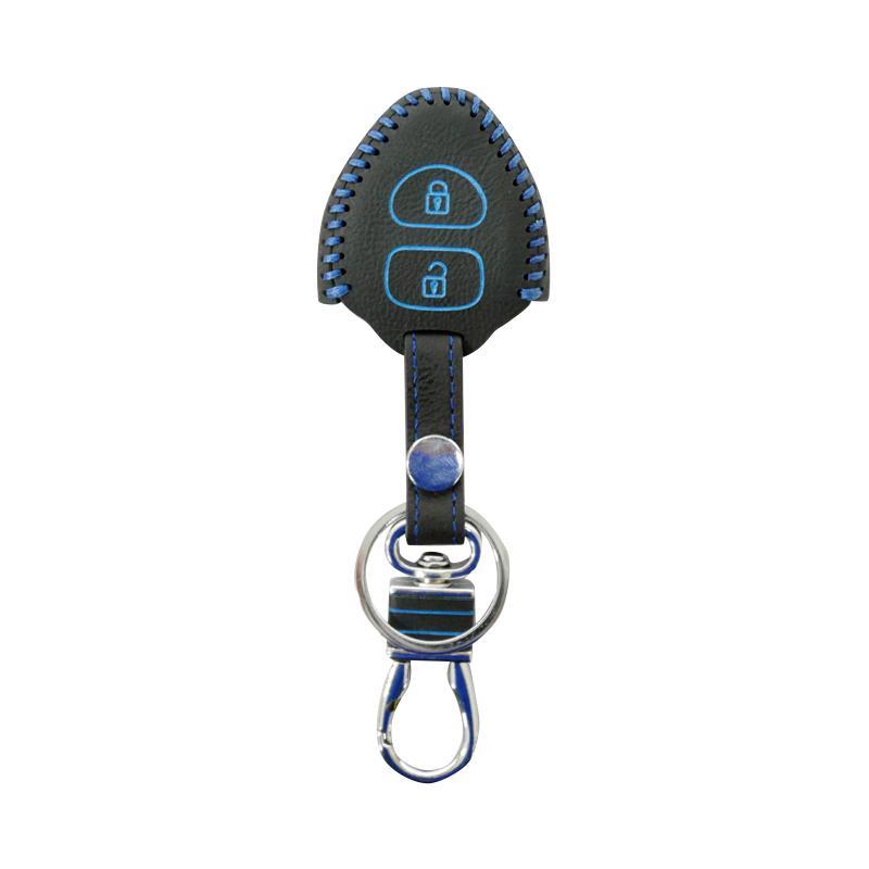 SIV 2 Tombol Kulit Premium Cover Key Sarung Kunci Mobil for Toyota - Benang Biru CVR-PRM6063